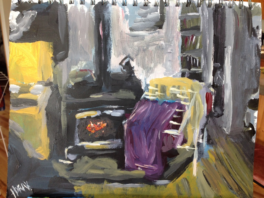 Even on chilly, rainy days - there's something to paint. Fireplace and Laundry
