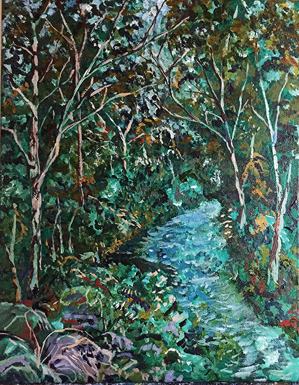 A Walk in the Woods, Gananoque.  Acrylic on Canvass.  SOLD