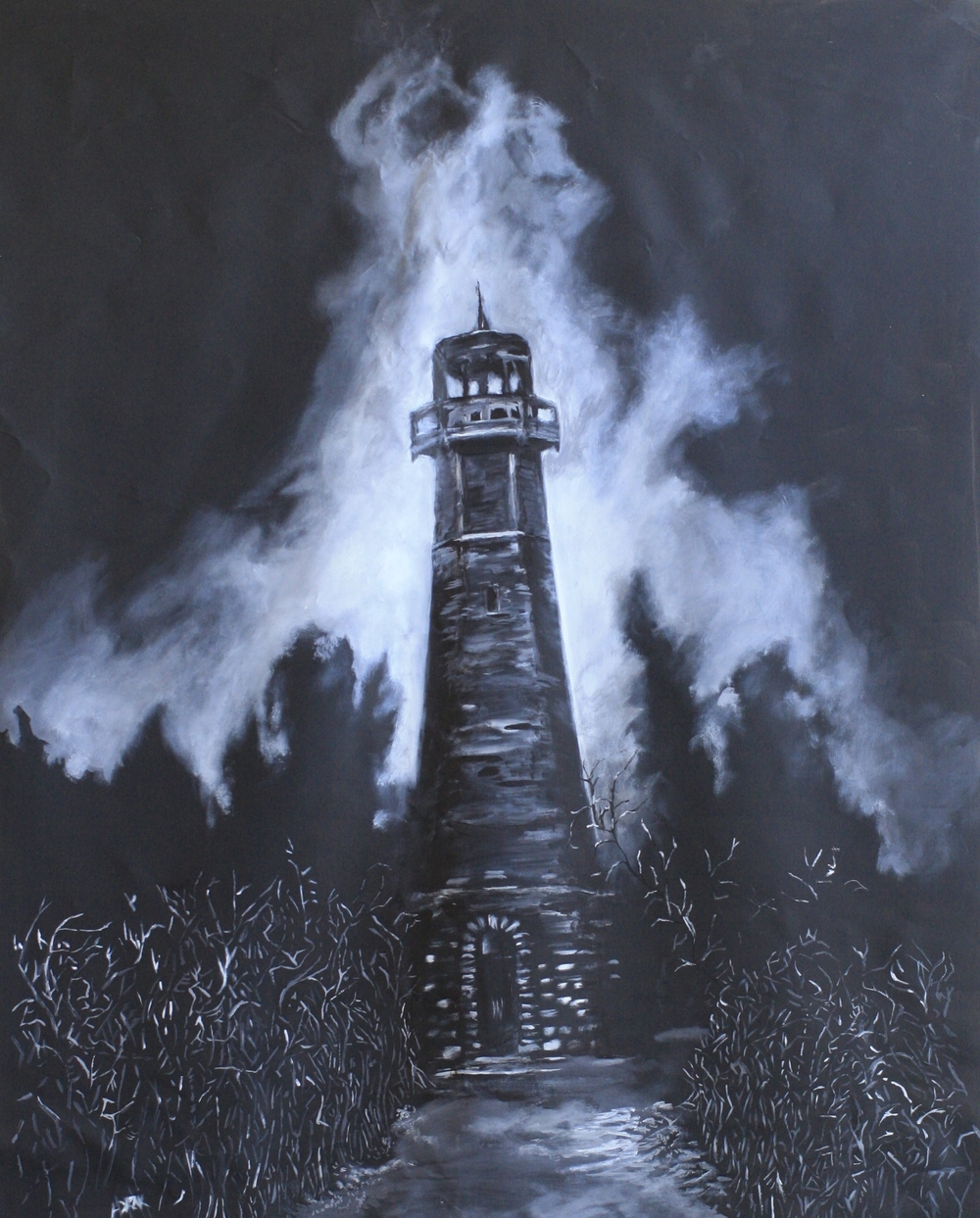 The Creepy Lighthouse.  Acrylic on Canvass.  3.5'x6' $1200