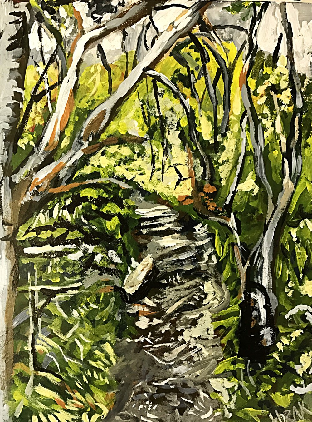 "High Park, Toronto acrylic on paper 9""x12""  $100"