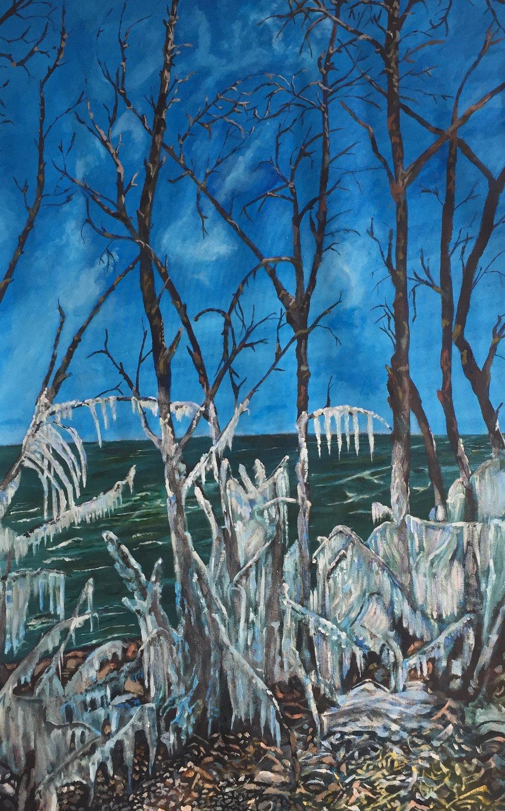 """The Ice Storm""  Acrylic on Canvass  30""x50""  $3750"