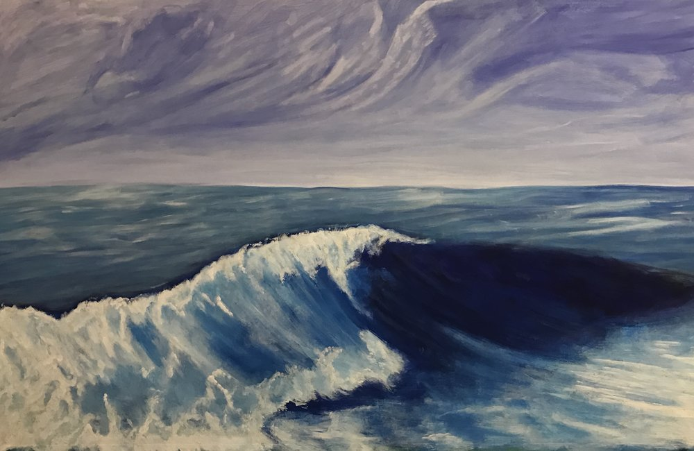 """The Big Wave"", Acrylic on Canvass, 84""x52"", $3200"