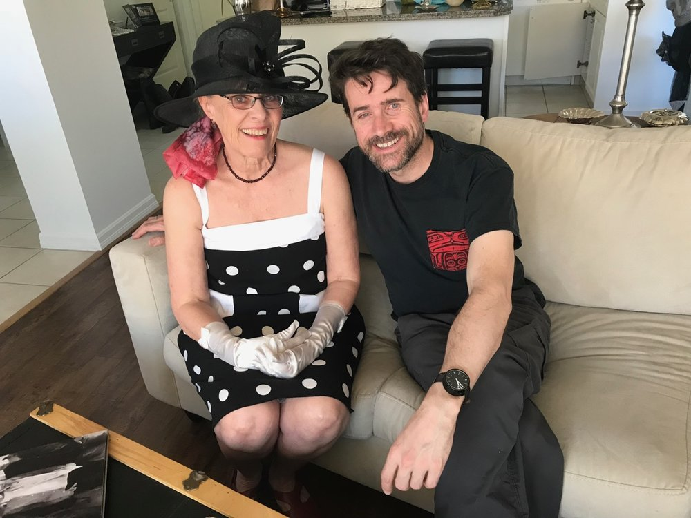 Mom and I on Mother's Day. She's putting together an outfit for the Royal Wedding