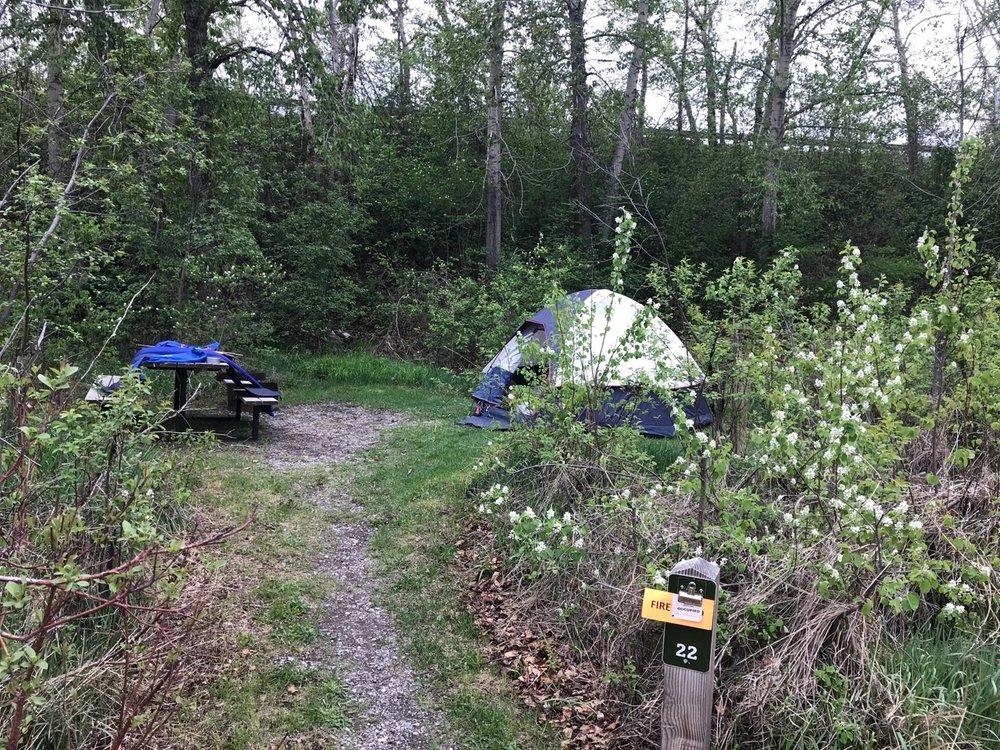The first campsite. Lundbreck Falls, Alberta