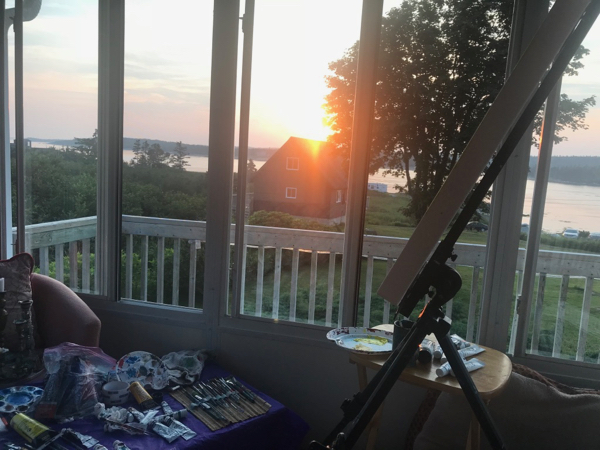 Sunset in the Pop-up studio at Pam's place