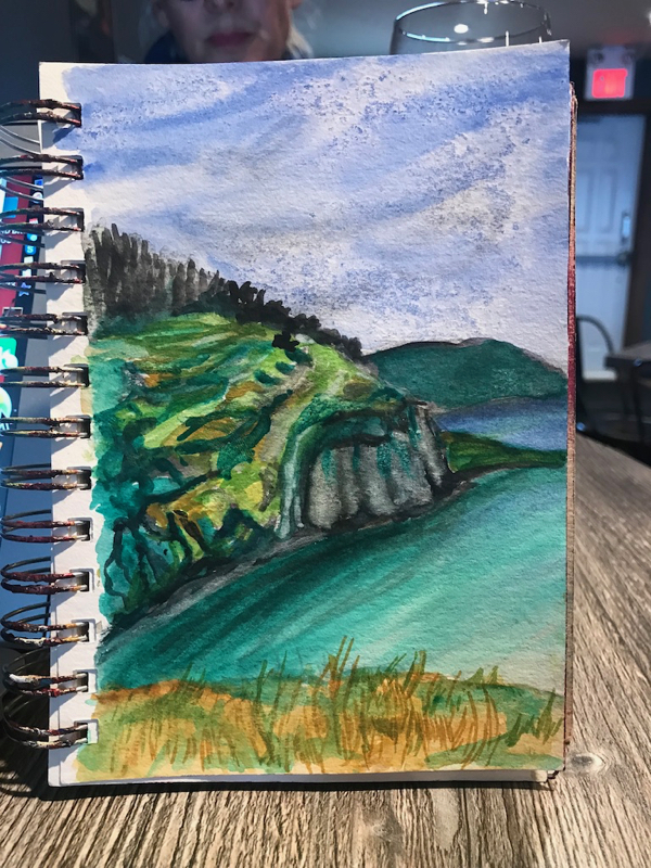 Watercolour sketch from the campsite in Trinity