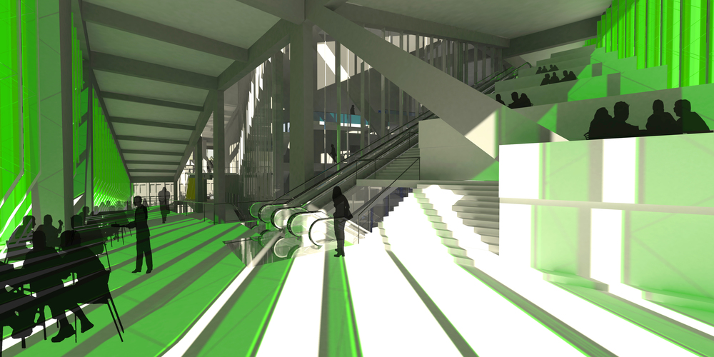 Interior | Green corridor, southwest corner of building, adjacent to circulation towers of blue theatre