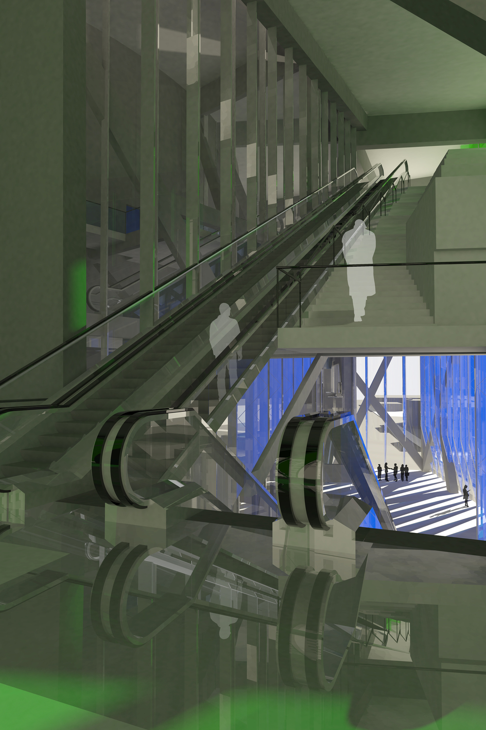 Escalators at intersection of blue and green