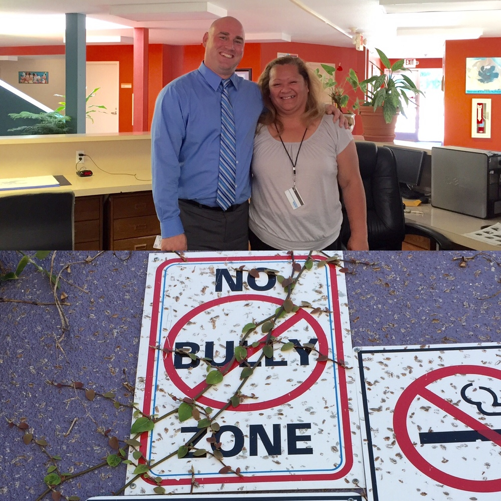 (Top) Deputy Center Director, Chris Allen with a happy employee of 17 years (Bottom) There are lots of rules at the Job Corps, but we like the #NoBullyZone best.
