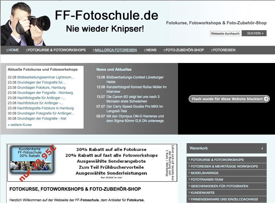 Screenshot »FF-Fotoschule« – Klick aufs Bild führt zur Homepage