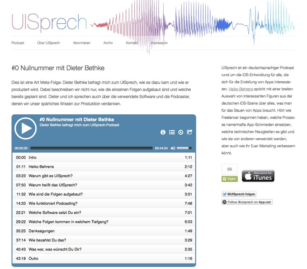 Screenshot »Homepage UI-Sprech« – Klick aufs Bild führt zur Homepage