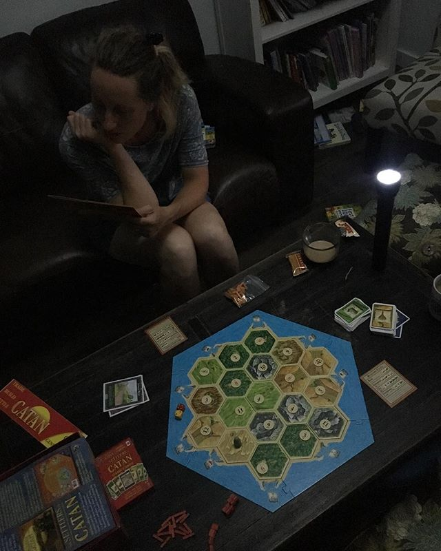 Powers out, nerding out @kristen_solesbee #catan