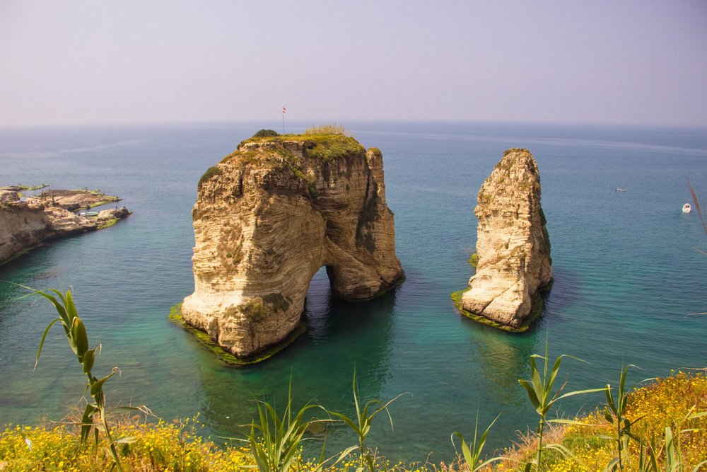 This is Raouche Rock (a.k.a. Pigeons' Rock/Sabah Nassar's Rock). It is one of Beirut's most beautiful natural sites. It marks the most western tip of the city. I took a boat ride through the rock and the many caves that line the Mediterranean coast.
