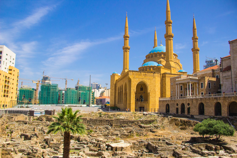 Roman ruins and Mohammad Al-Amin Mosque in downtown, Beirut. When I was here in 2006 the mosque was still under construction.