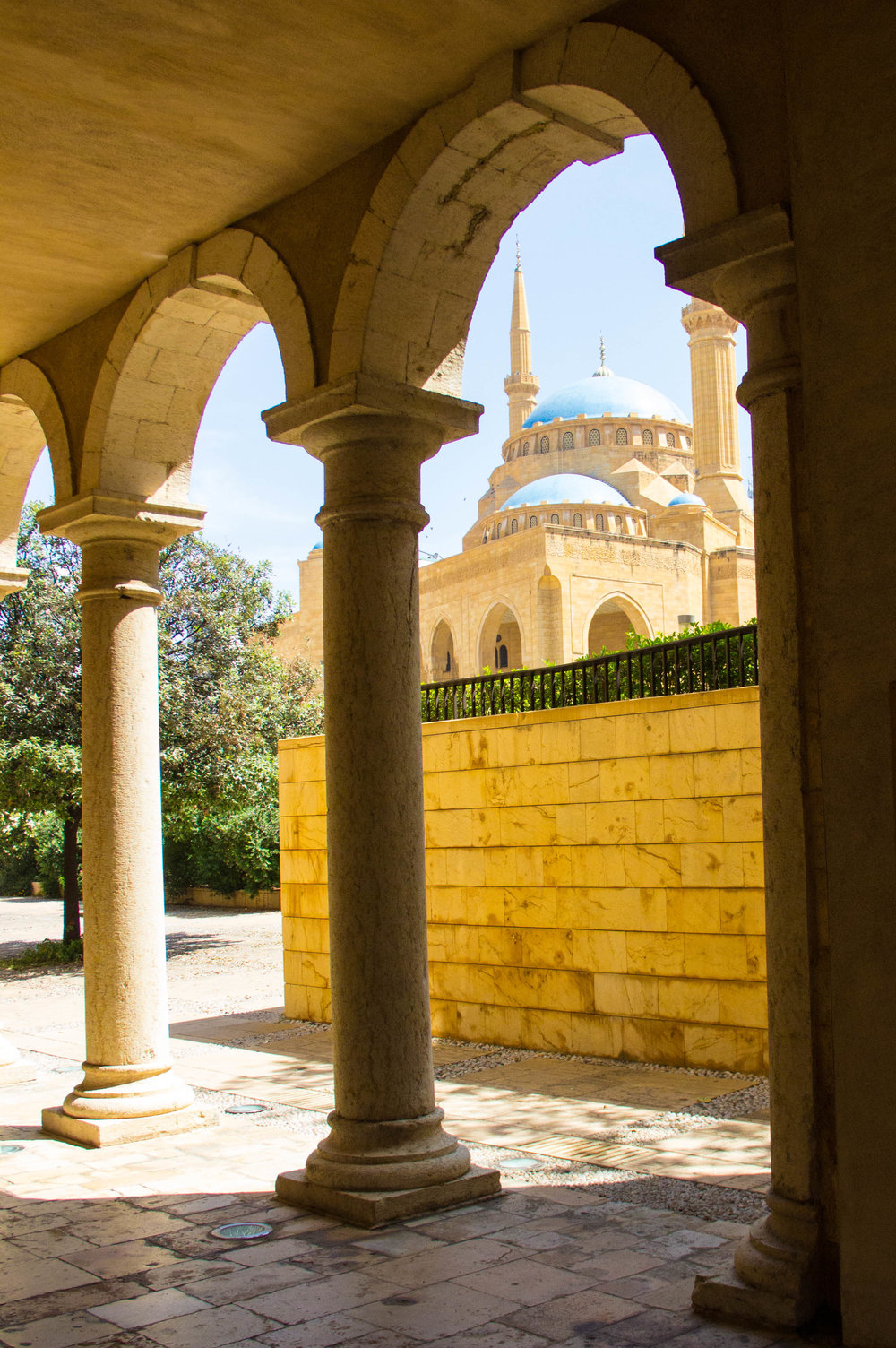 View of Mohammad Al-Amin Mosque from under St. George Cathedral.