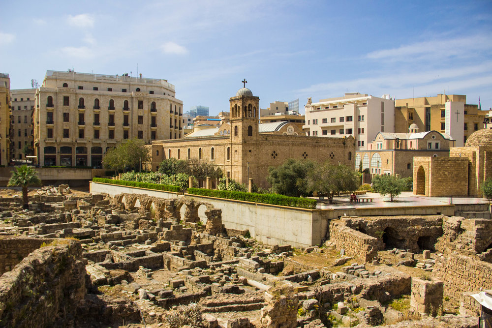 St. George Cathedral and Roman ruins in Downtown, Beirut.
