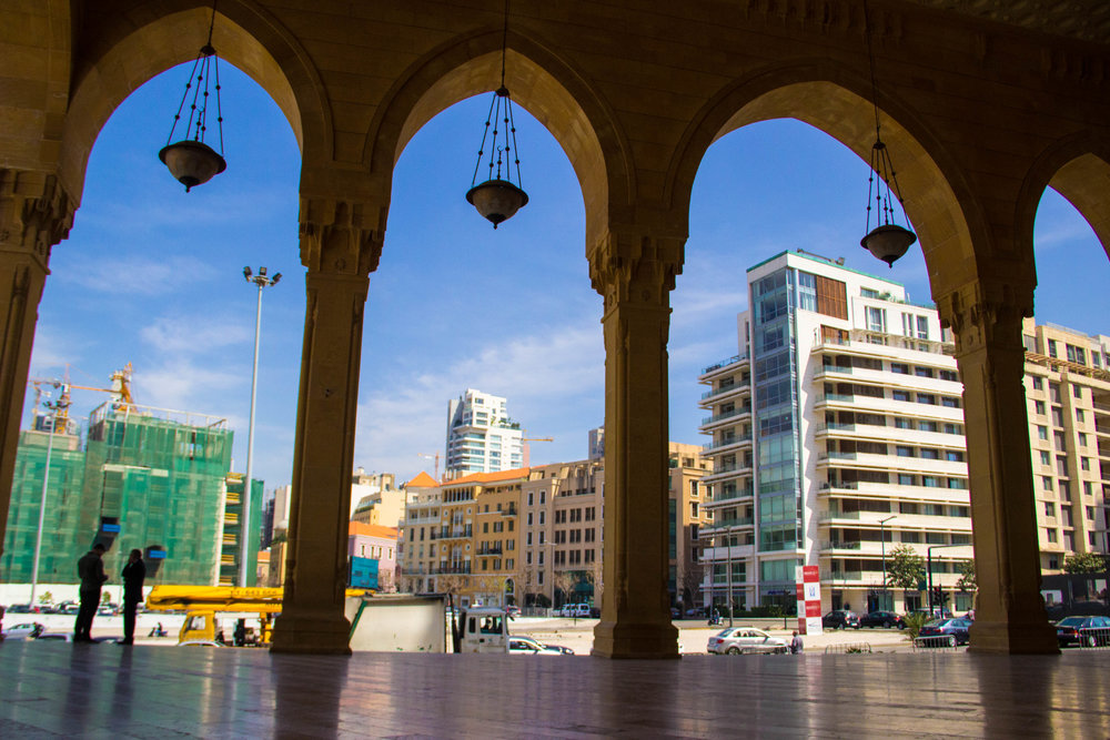 View from inside the Mohammad Al-Amin Mosque in downtown Beirut