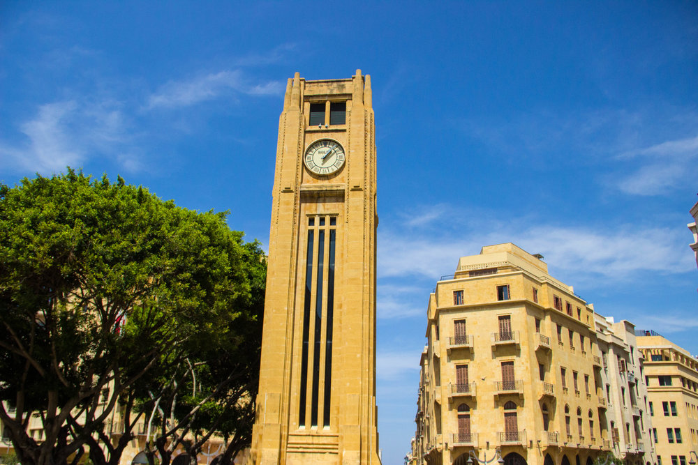 Nejmeh Square Clock Tower. This was one of the few historic structures to survive the Civil War 1975-1990).