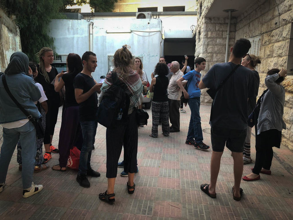 Outside of the YES Theatre in Hebron