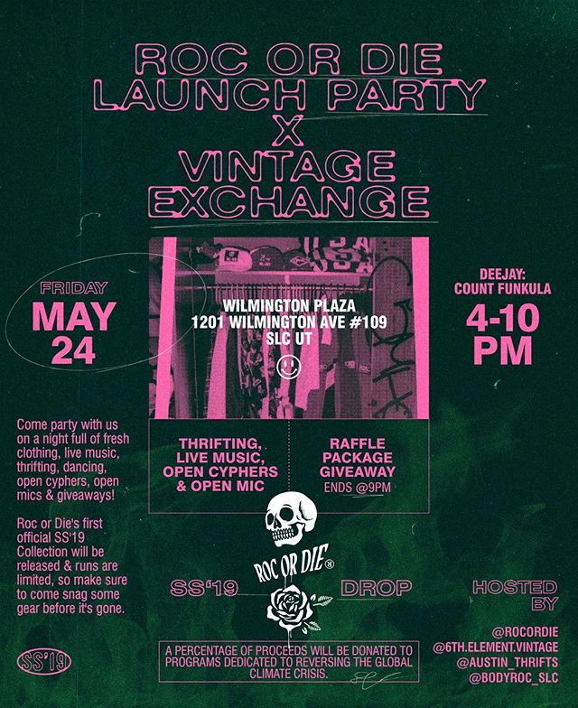 Fresh clothes, music, thrifting, dancing, open cyphers, open mics and giveaways! Get ready to party & bullshit and celebrate the launch of @rocordie !  Music provided by our very own Count Funkula & others!  If you are interested in vending at this event, feel free to message us here directly. First come, first serve. Slots will fill up quickly!  Location:  Wilmington Plaza 1201 Wilmington Ave, SLC UT 84106 . . . #rocordie #bodyroc #lifestyle #hiphop #brand #party #streetstyle #fashion #apparel #culture #art #graphicdesign #design #designer #typography #film #edit #promo #vintage #thrift #layout #vscocam #vsco #digitalart #editorial #inspiration #composition #charity #support #local