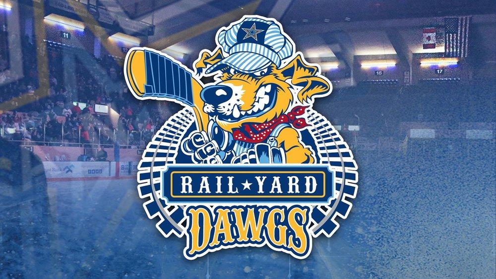 rail yard dawgs SPHL hockey team jumbotron graphics -