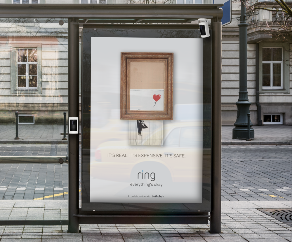 TACTIC #1 - In collaboration with Sotheby's, Ring will place expensive well known art pieces in public where you wouldn't typically see them. Each piece will be protected by Ring Security Cameras and various monitoring systems.
