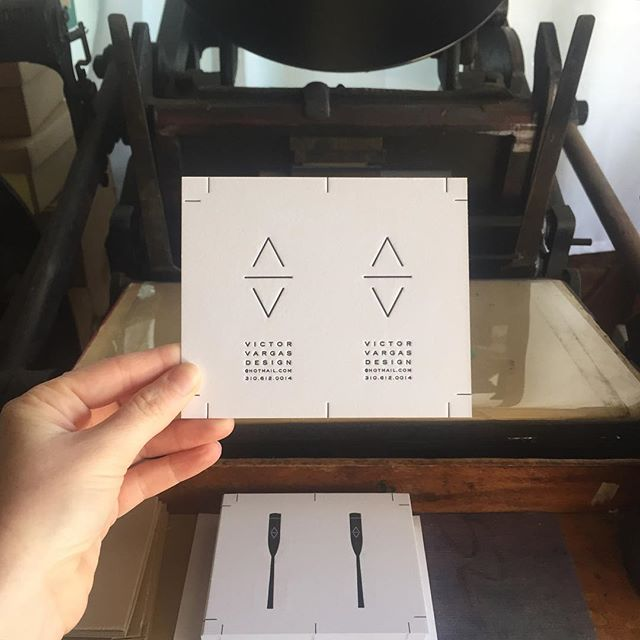 Actually printing today, omg. On press: clean and simple cards for my cousin's woodworking business. #letterpress #victorvargasdesign