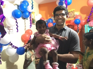 Baby Ritiksha and Bempu founder, ratul, at ritiksha's 1st birthday!