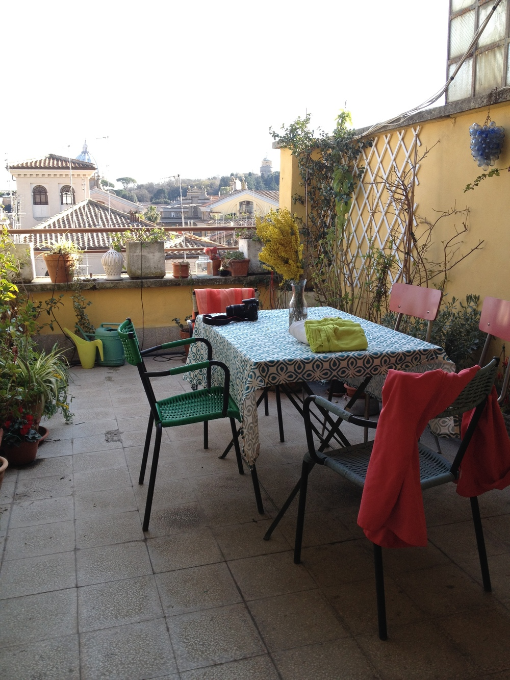 Our Eclectic Kitchen with a Terrace looking at the Vatican