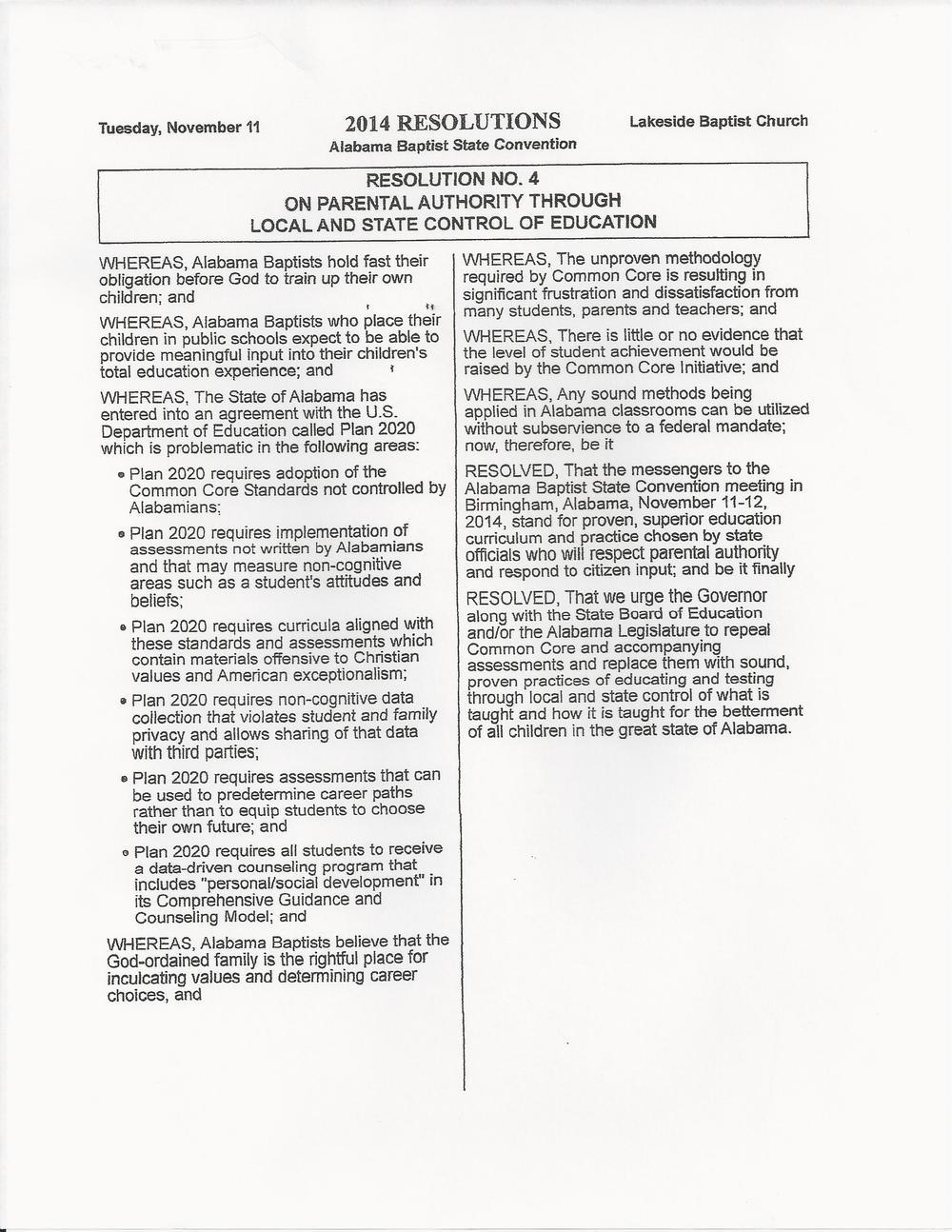 AL Baptist Resolution attach w? Dr. Killian's Letter