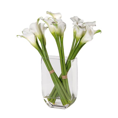 WHITE CALLA LILY ARRANGEMENT IN GLASS