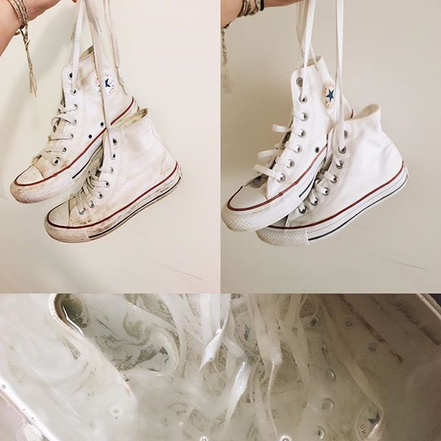 If the school year took a toll on your favorite white converse, look no further to make your kicks good as new! Easy at home remedy for fresh white sneaks: •Pour a 30 oz bottle of your at home laundry bleach into a plastic tub big enough for both shoes. Fill the rest of the bin up with hot water high enough for shoes to be completely submerged •UNLACE shoes before placing them in the bin. This helps give both shoes and laces an even clean •Allow shoes and laces to soak in the bleach water 6 hours •After soaking, place in washer with mild to average laundry detergent. Cycle low with cold water •Let air dry to prevent shrinking ~Viola!~ Converse are good as new with scuffs and stains removed just in time for summer 🗯