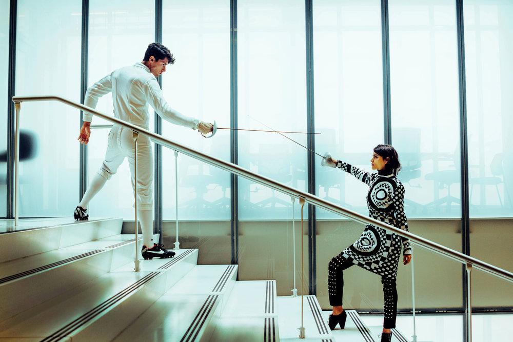 Dress: Emilio Pucci Pants: Junya Watanabe