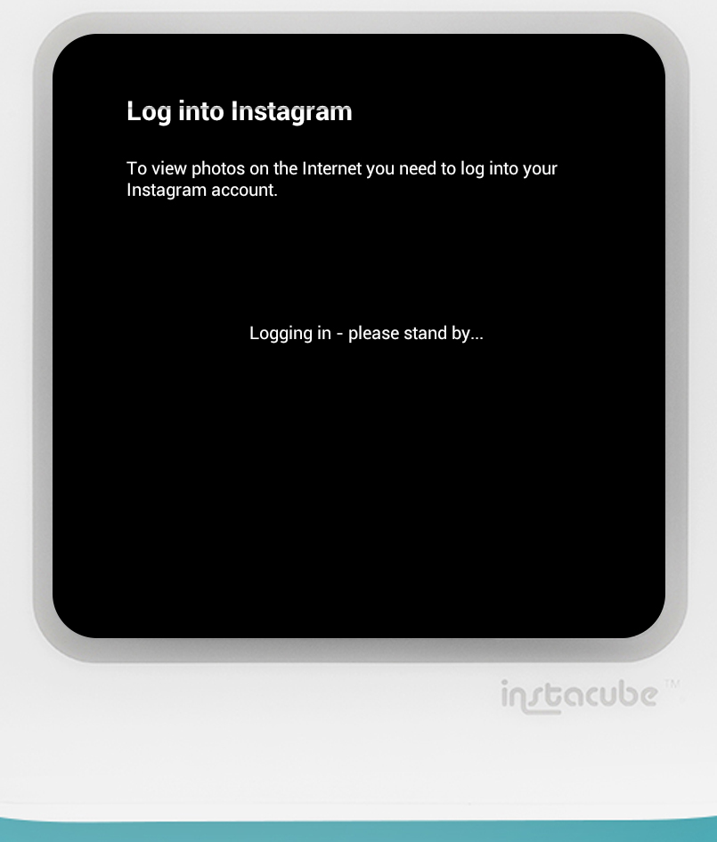 Next you'll see a 'Logging in' screen.