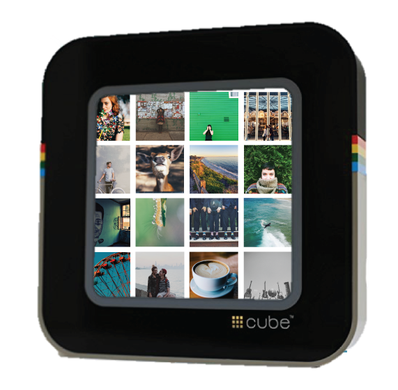 streams photos + video in real time #cube downloads photos and videos that you created on Instagram and displays them in a slideshow.