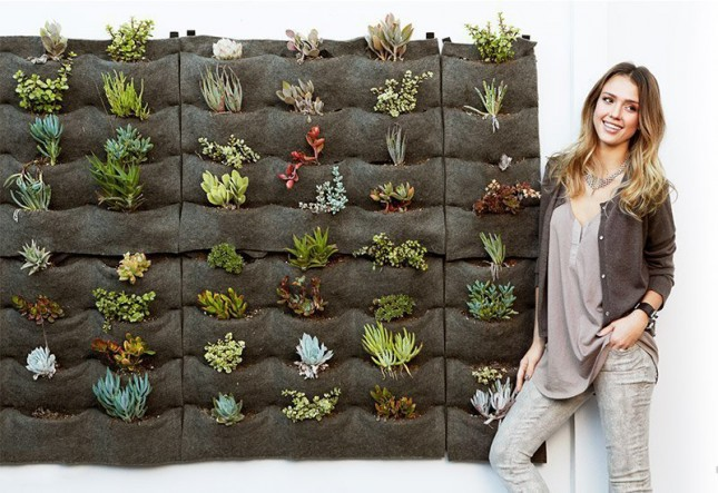 Jessica Alba's Eco-Friendly Vertical Garden. Florafelt System. photo: Brit.co
