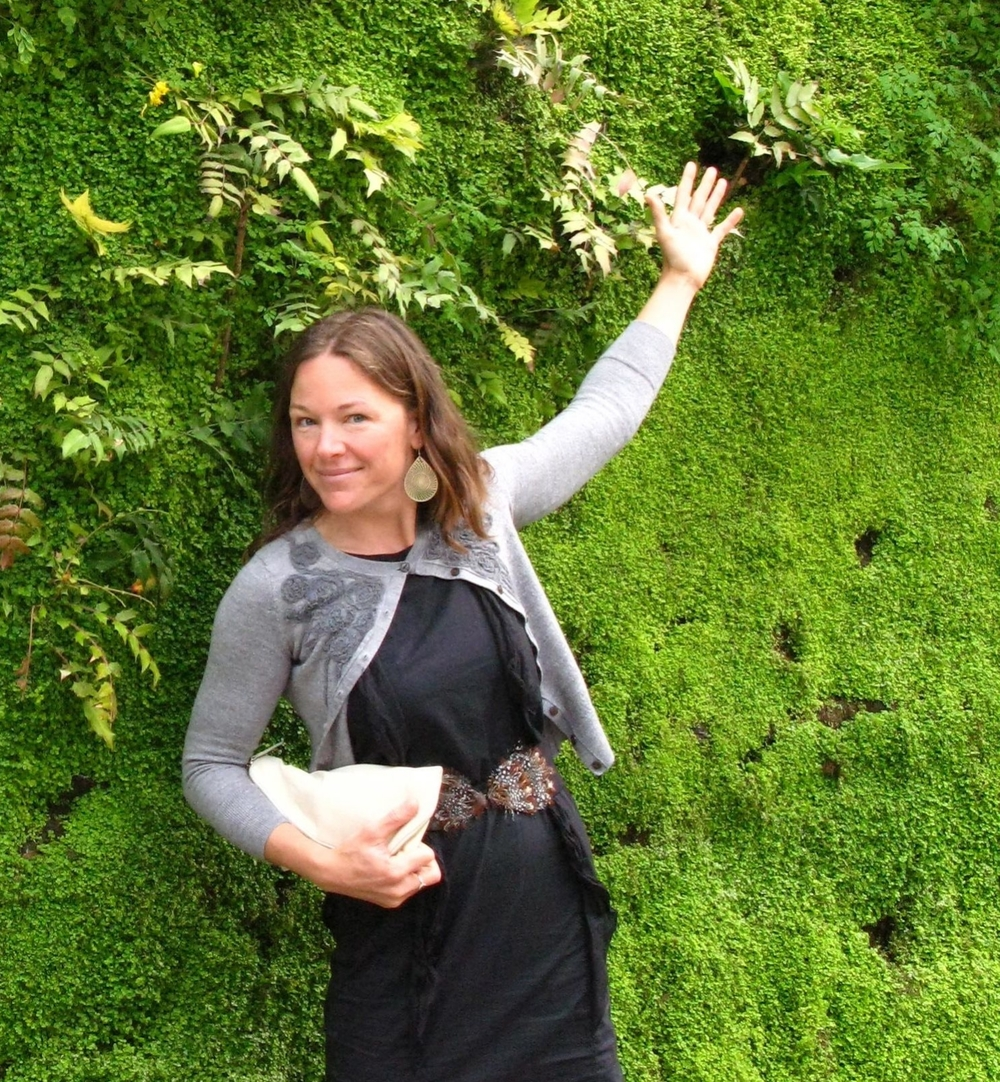 Inspired by design, Rebecca in Paris in front of a famous Patric Blanc living wall.