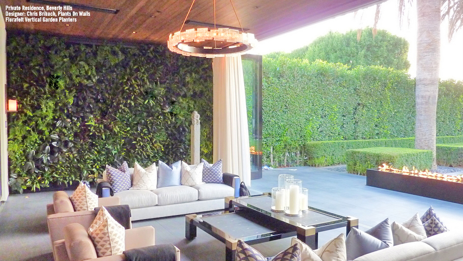 Chris Bribach, Plants On Walls. Private Residence, Beverly Hills. Florafelt Vertical Garden Planters