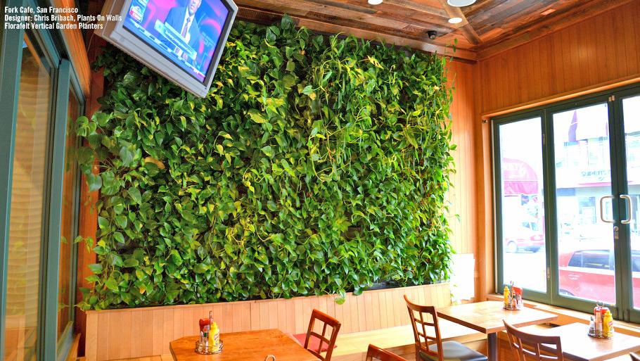 Chris Bribach, Plants On Walls. Slurp Cafe, San Francisco. Florafelt Vertical Garden Planters