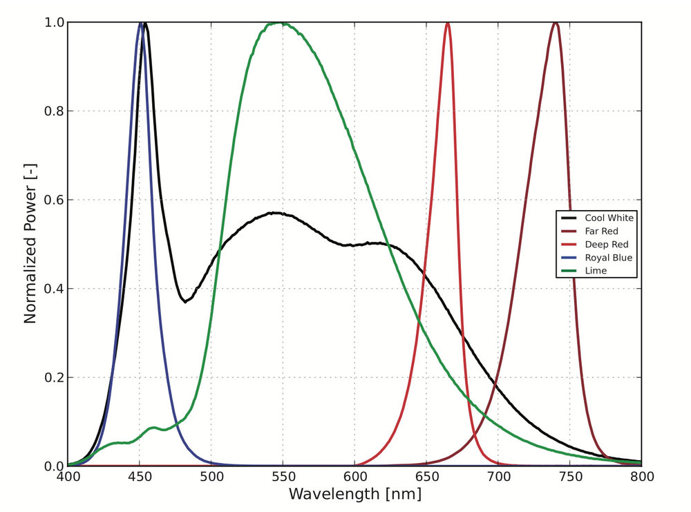 Spectral Power Distribution Characteristics-LUXEON SunPlus 20 Line at 350mA, Tj=85°C
