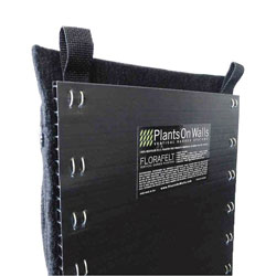 Florafelt pockets are mounted to a rigid plastic board that keeps walls dry.