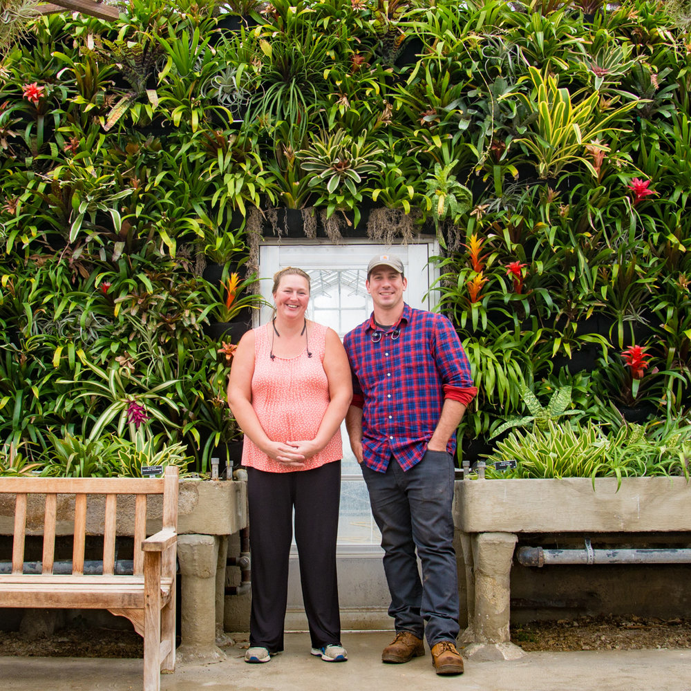Kingwood Center Garden greenhouse director Doug Schuster and production coordinator Laura Mast with the Florafelt Vertical Garden.