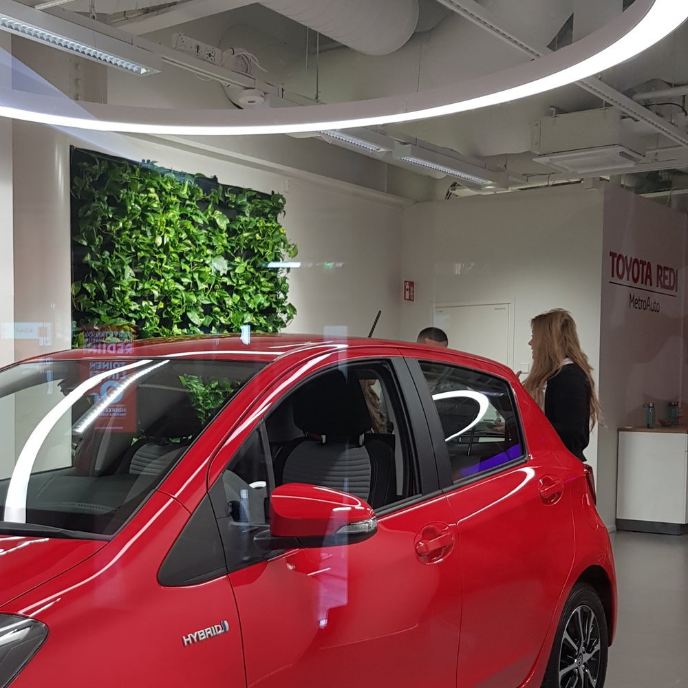 Florafelt Pockets Living Wall for Toyota Showroom by Pasi Lindberg Viherolo Oy Finland.