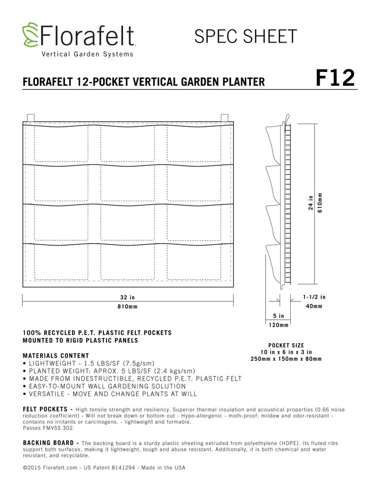 Florafelt Vertical Garden 12-Pocket Panel Specs