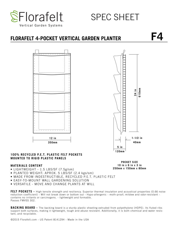 Florafelt Vertical Garden 4-Pocket Panel Specs
