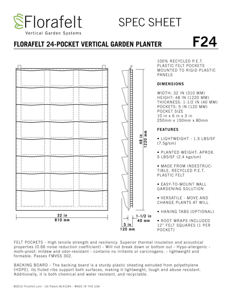 Florafelt Vertical Garden 24-Pocket Panel Specs