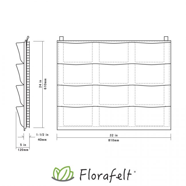 Florafelt 12-Pocket Panel Living Wall System Specs