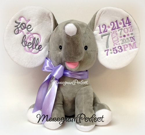 retiring design personalized gray purple birth announcement