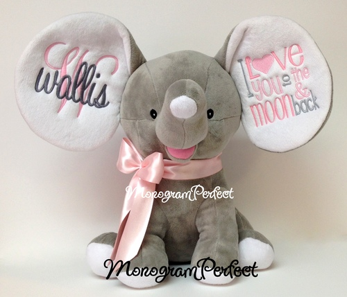 Retiring Design Personalized Gray Floppy Ear Stuffed Elephant I Love You To The Moon And Back Light Pink Gray