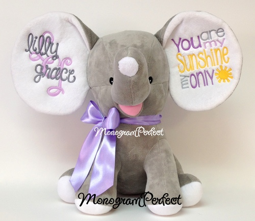 Retiring Design Personalized Gray Purple Floppy Ear Stuffed